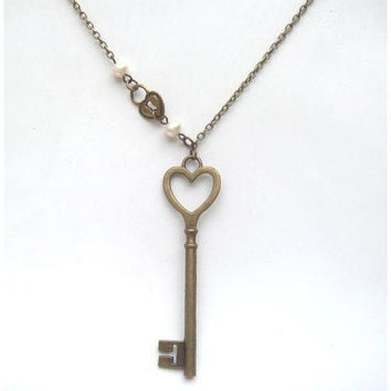 Antiqued Brass Key Lock Pearl Necklace