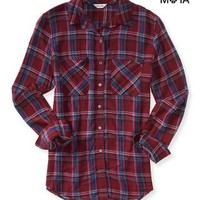 LONG SLEEVE GRAPHIC PLAID WOVEN SHIRT