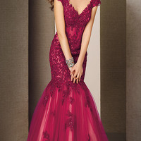 Full Length V-Neck Lace Mermaid Gown by Alyce