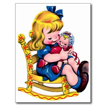 Little Girl Rocking Chair - Retro Happy Birthday