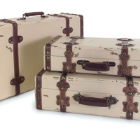 Trunk, Asst. of 3 Suitcases, Whitewash, Trunks