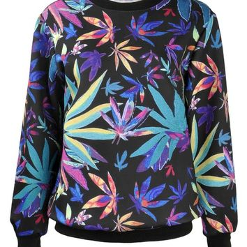 ZLYC Women Girls Colorful Maple Leaf Print Sweatshirt Weed Sweater Pullover