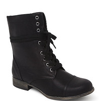 Black Poppy Contrast Zip Lace Up Boots at PacSun.com
