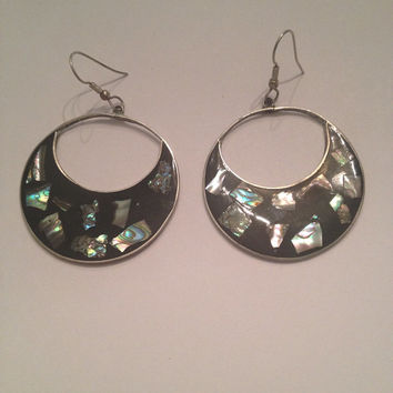 Vintage Alpaca Silver Black Abalone Dangle Disc Mexico Earrings Jewelry