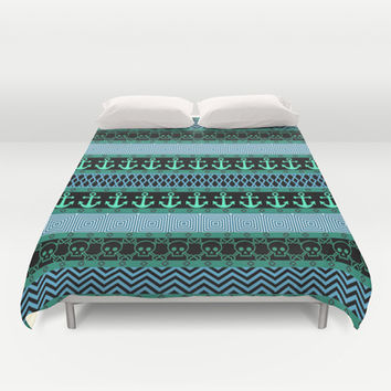 Geometric Pirates Duvet Cover by Alice Gosling | Society6