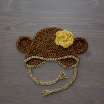 Crochet Monkey Hat with Flower, Baby Monkey Hat, Crochet Baby Hat, Crocheted Baby Hat, Newborn Photography Prop, Baby Shower Gift, Baby Girl