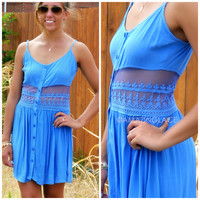 Window To My Soul Periblue Button Down Dress