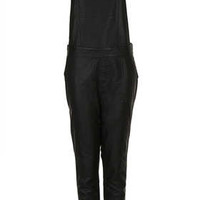 LEATHER LOOK DUNGAREE