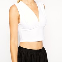 ASOS Crop Top with Deep Plunge in Rib