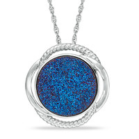 18.0mm Blue Drusy Quartz Swirl Pendant in Bronze with 18K White Gold Plate