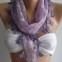 Lilac  / Scarf with Lacy Edge,