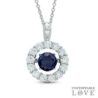 Unstoppable Love™ 6.0mm Lab-Created Blue and White Sapphire Pendant in Sterling Silver