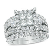 4 CT. T.W. Princess-Cut Quad Diamond Frame Bridal Set in 14K White Gold