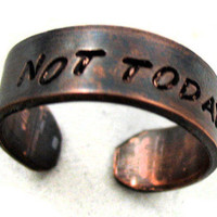 Not Today - Antiqued Copper Game of Thrones Inspired Ring | foxwise