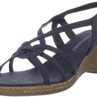 Annie Shoes Women`s Connie Slingback Sandal,Navy Linen,6 B US