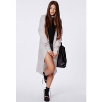 Missguided - Arin Longline Chunky Knit Cardigan Grey