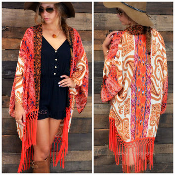Gypsy Queen Coral Paisley Print Fringed Kimono