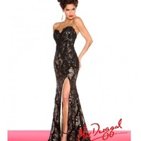 Mac Duggal 2014 Prom Dresses - Black Floral Lace & Sequin Embellished Prom Gown | Unique Prom