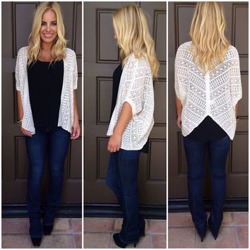 Wings To The Wind Crochet Knit Cardigan - IVORY