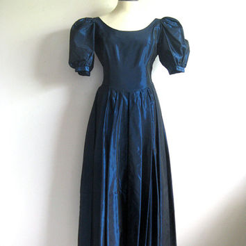Vintage 1980s Satin Dress LAURA ASHLEY Dark Teal Pleated Dress 14