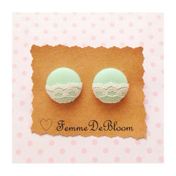 "Handmade ""Lovely Lace"" Mint Green and Cream Lace Fabric Earrings 2 sizes available"