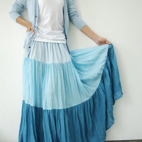 NO.53 Light Blue-Aqua-Turquoise Cotton, Hippie Gypsy Boho Color-Block Tiered Skirt