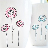 simple and modern white mug. hand-illustrated 12 oz.  Oh So Poppy by indobay