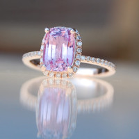 2.5ct Cushion raspberry peach champagne sapphire 14k rose gold diamond ring engagement ring