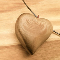 Wood jewelry wooden heart pendant necklace lucky charm unique friendship jewelry nature energy cedar carving woodworking