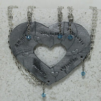 Puzzle Heart Necklaces set of 5 Personalized polymer clay pendants Optional Crystals