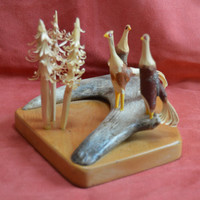 Hand Carved Pheasants and Pine Trees