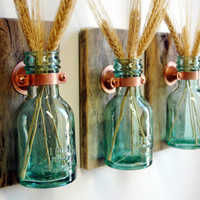 1868 Green Honey Bottles Wall Decor each mounted on wood base for unique rustic living room decor bedroom decor kitchen decor