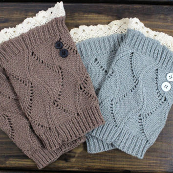 Womens Button Boot Cuffs lace trim Boot Toppers Gray open knit Boot Socks Knitted leg warmers Christmas gift for her