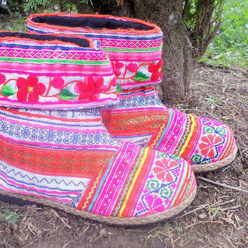Alya Cuffed Womens Ankle Boots Bright Funky Pink Mixed Hmong Embroidery