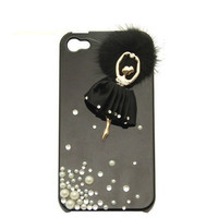 Handmade hard case for iPhone 4 & 4S: Bling ballet girl (custom are welcome)