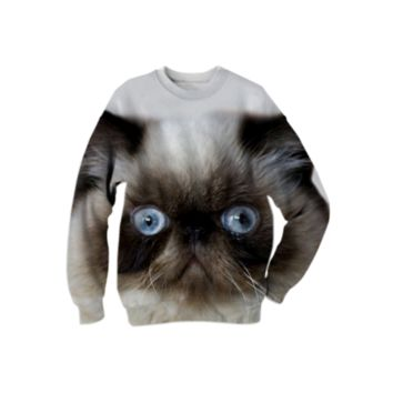 Funny Persian Cat Sweatshirt created by ErikaKaisersot | Print All Over Me