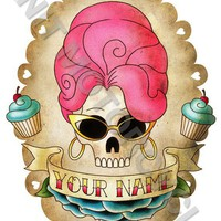 Custom Skull Girl 8x10 print tattoo imagery by knitmotorcycle