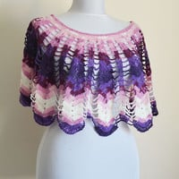 Knit Poncho Capelet, Crochet  Short Poncho, Purple Tones, Hand knitted  Poncho Capelet, Fall Fashion, Gifts for Women
