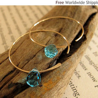 Gold Filled Open Hoops with Blue Swarovski Crystals - Gold Earrings by NadinArtDesign