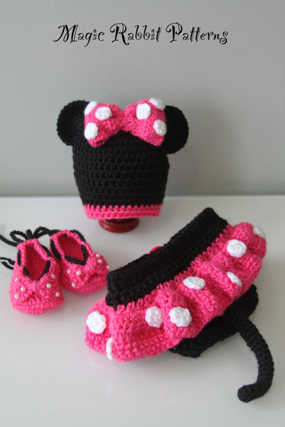 Crochet Minnie Mouse Hat, Diaper cover with Skirt and Shoes - PDF Pattern