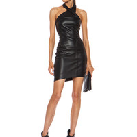 Wrap Neck Leather Dress in Black