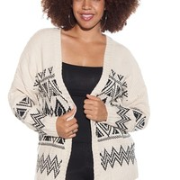 Feel the Chill Plus Size Tribal Print Knit Cardigan - Ivory
