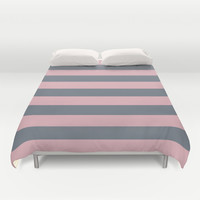 Stripe Horizontal Coral Pink Gray Duvet Cover by BeautifulHomes
