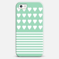 Heart Stripes Mint iPhone 5s case by Project M | Casetify