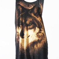 WOLF FOX Animal Cute Zoo Art Design Shirt Women Tank Top Tunic Top Shirt Black T-Shirt Sleeveless Singlet Screen Print T-Shirt Size S M