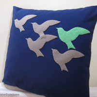 The Unique One. Mint Green Bird In Flying Birds Navy Pillow Cover
