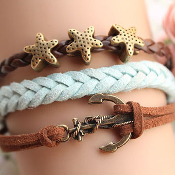 sailing bracelet,retro bronze personality anchor with starfish Pandora bead,alloy bracelet,brown leather,green rope braid bracelet---B132