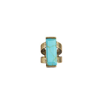 RECTANGLE TURQUOISE STONE CUT OUT RING