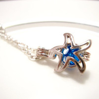 Starfish locket pendant Necklace Royal Blue Swarovski Crystal - beach wedding necklace FREE SHIPPING