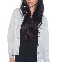 Cheer It On Quilted Baseball Jacket - Gray